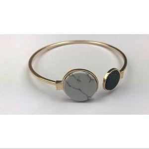 Jewelry - White and Black Round Marble Bangle Bracelet